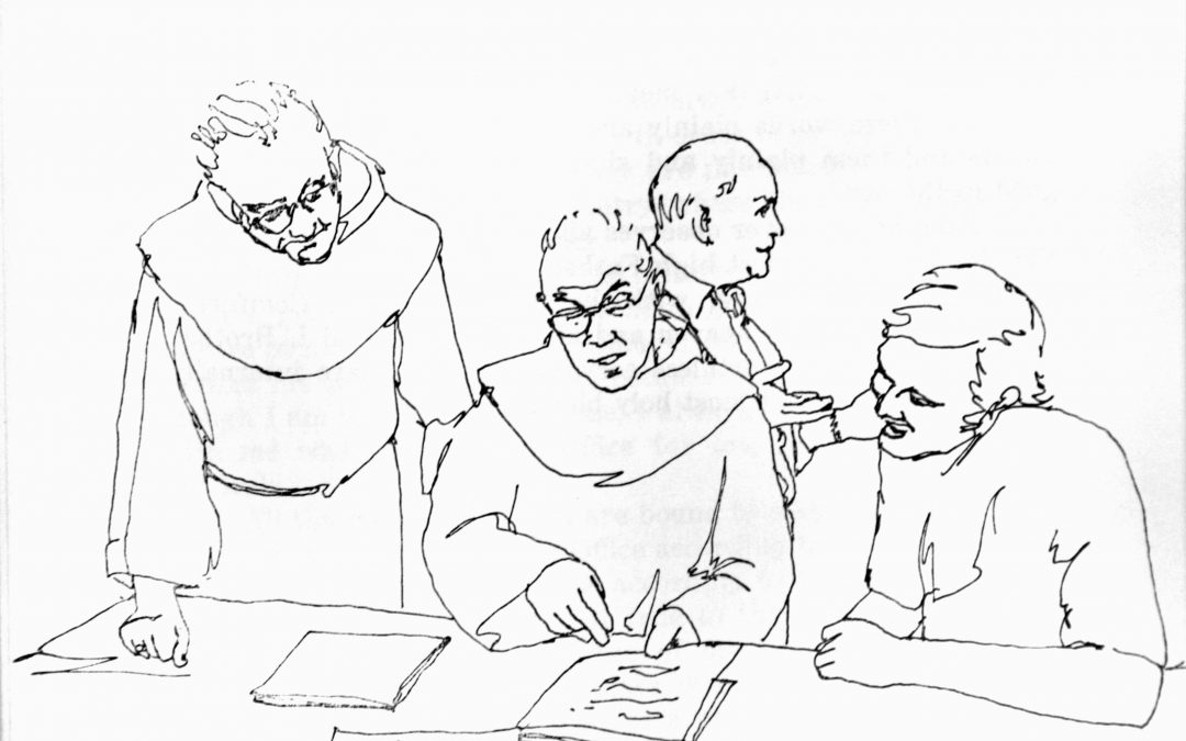 Friars Conferring Documents